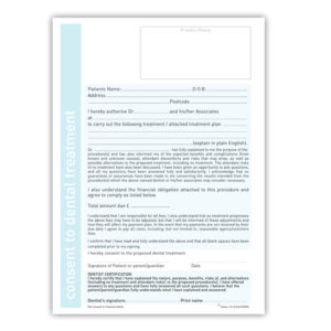 Consent to dental treatment form