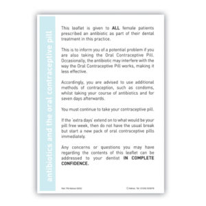 Antibiotics and oral contraceptive pill advice sheet